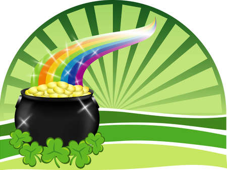 A big pot of gold with shiny rainbow, shamrocks and a green background Vector