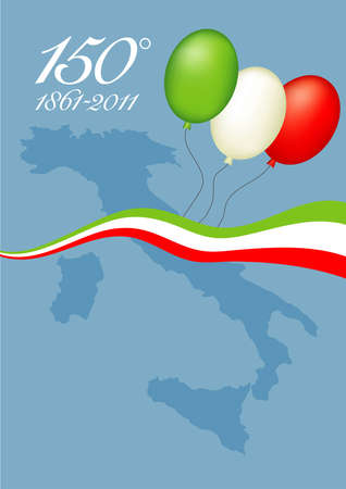 unification: Illustration representing the 150th anniversary of Italian unity, with map of Italy and balloons and a ribbon with Italian flag colors
