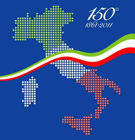 Illustration for the 150th anniversary of Italian unity, with a graphical map of Italy represented as LED spheres with Italian flag colors Vector