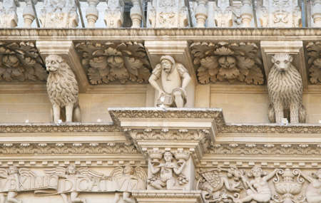 telamon: Baroque detail from the facade of the Holy Cross (Santa Croce) basilica - Lecce, Apulia, Italy