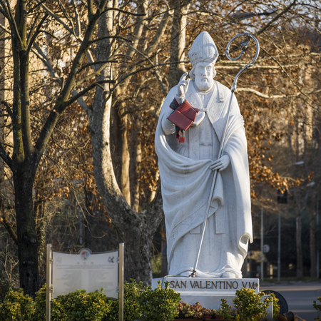Valentines day. statue of the saint in the Italian city of Terni Stock Photo
