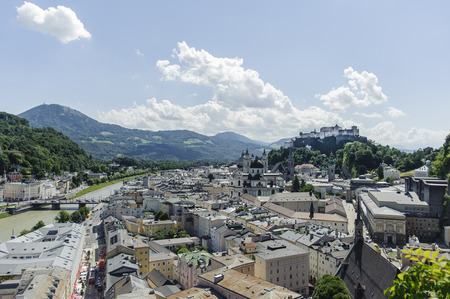 View of Salzburg. High above the famous medieval fortress dominates Banco de Imagens