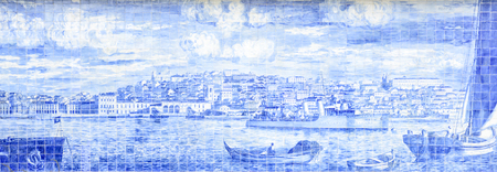 representation of the city of Lisbon seen from the sea with the characteristic tiles Stock Photo