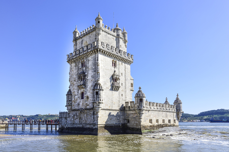 Belem tower. Ancient defensive fortress in Lisbon, Portugal