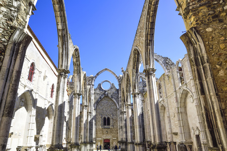 lisbon, ancient ruins of the famous convent do carmo destroyed by the earthquake Stock Photo