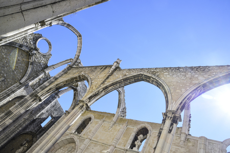 lisbon, detail of the interior of the famous convent do carmo