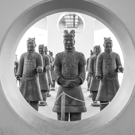 Group of Chinese terracotta soldiers. Reproduction of the famous statues of Xian, China