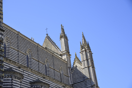cathedral of orvieto, back side. you can see the particular decoration in two-colored marble stripes