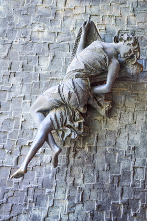 Cathedral of Orvieto, Italy. Detail of the bronze door handles that depict an angel
