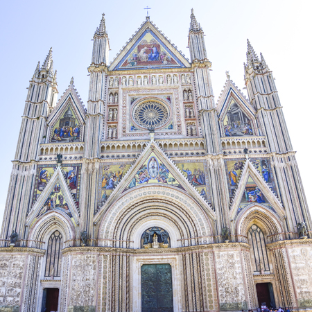 Facade of the Cathedral of Orvieto (Duomo di Orvieto) Italy. Construction in Gothic style dedicated to the Madonna Redakční