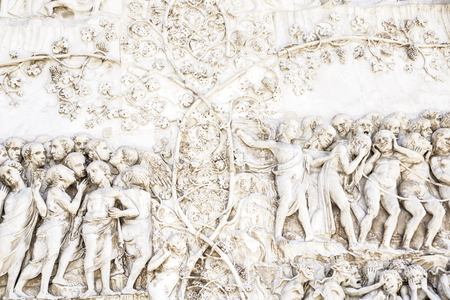 Detail of the facade of the Duomo of Orvieto, Italy. Marble bas-relief representing episodes of the bible. Final judgement