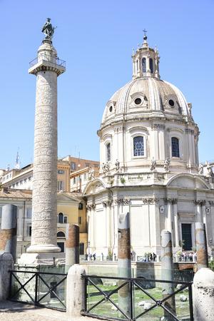 Rome. Trajan column. It depicts the history of the conquest of Dacia by Emperor Trajan Banco de Imagens