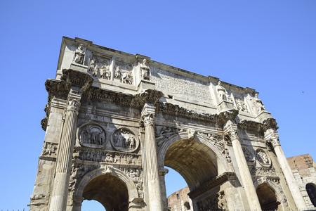 Rome, Italy, Arch of Constantine Emperor. Triumphal arch