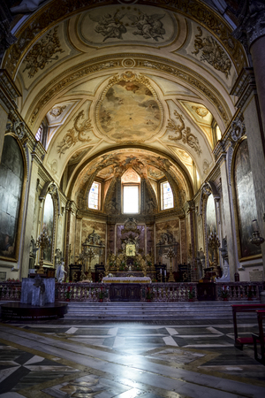Interior (altar) of the Basilica of St. Mary of the Angels and Martyrs, Rome. Italy Editorial