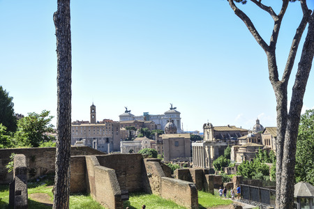 Rome, Italy, imperial forums, in the background the altar of the homeland Banco de Imagens