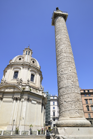 Rome. Trajan column. It depicts the history of the conquest of Dacia by Emperor Trajan Stock Photo