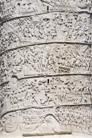 Rome. Trajan column. It depicts the history of the conquest of Dacia by Emperor Trajan. Detail Banco de Imagens