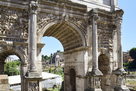 Rome, Italy, ruins of the Imperial forums of ancient Rome. Arch of Septimius Severus