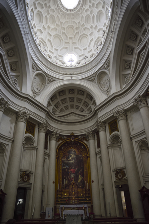Rome Italy. Church of St. Carlo at the four fountains. Baroque Dome of Borromini