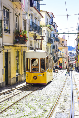 lisbon, elevador da Bica connects the city center with the high bairro district