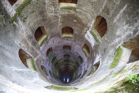 St. Patrick's well, Orvieto, Italy. Historic well. Great engineering work, built in 1547. depth 54 meters, width 13 meters .. characteristics are the spiral stairs