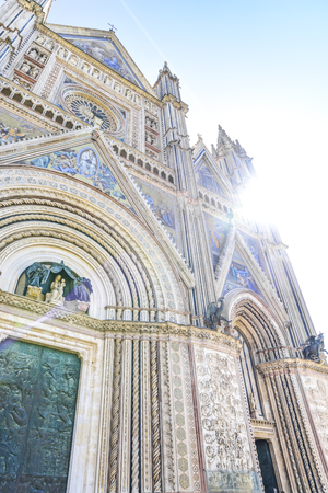 Facade of the Cathedral of Orvieto (Duomo di Orvieto) Italy. Construction in Gothic style dedicated to the Madonna Reklamní fotografie