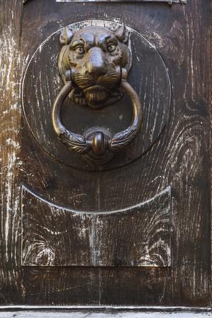 Detail of the knocker of an old wooden door 写真素材
