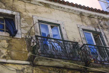 facade of dilapidated building