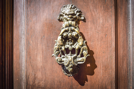 old wooden door with decorated brass knocker