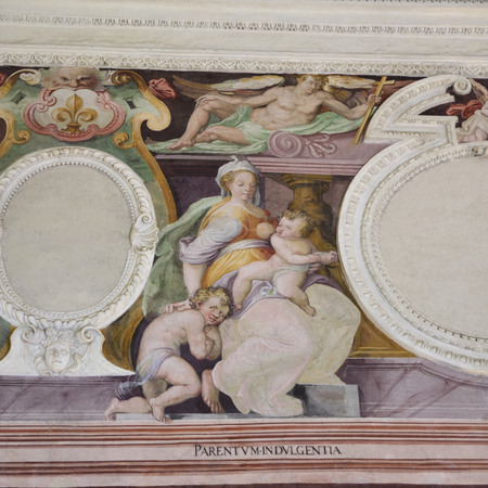 Pictorial representation of the virtue of indulgence. Fresco