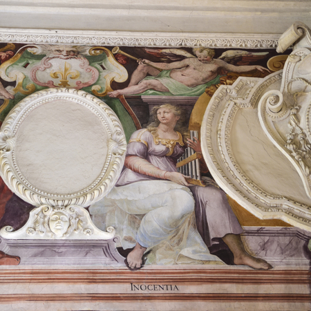 Pictorial depiction of the virtue of innocence. Fresco Editorial
