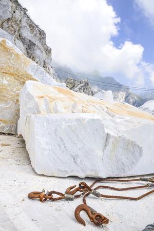 precious Carrara marble. Quarry on the Apuan Alps, Tuscany, Italy