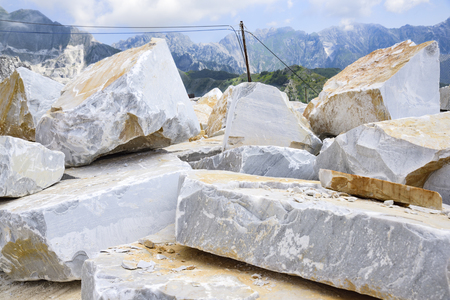 precious Carrara marble. Quarry on the Apuan Alps, Tuscany, Italy