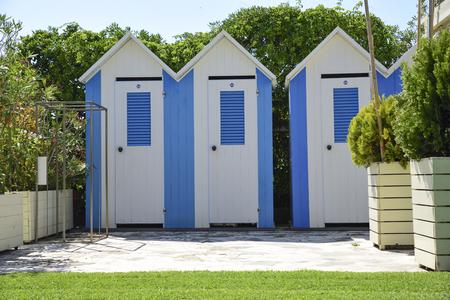 beach cabins in Versilia, Tuscany, Italy Reklamní fotografie