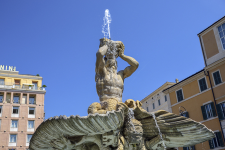 fountain of the God Triton in Barberini square, Rome Italy. Made by Bernini