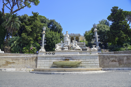 Rome Italy. Sculpture in Piazza del Popolo square that depicts the Goddess Roma