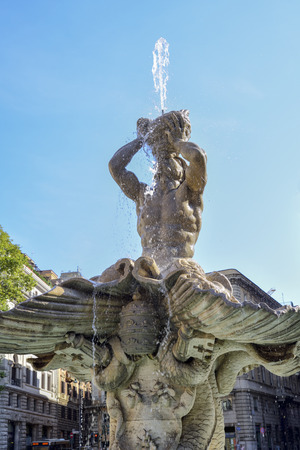 fountain of the God Triton in Piazza Barberini, Rome Italy. Made by Bernini