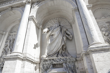 Rome, Italy, Fountain of the Moses (happy water fountain). Moses is depicted as indicating the water spring from the rock Banco de Imagens