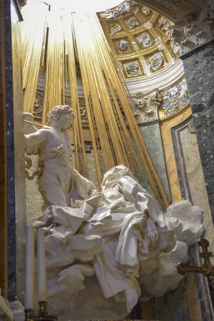 Rome Italy. Famous sculpture by Bernini, ecstasy of St Teresa in the church of St Maria della Vittoria Editorial