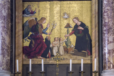 artwork in Rome, Italy. The annunciation to the Virgin Mary