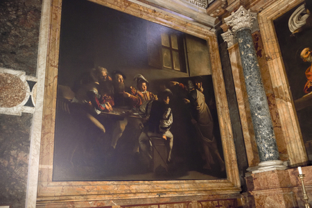 Caravaggio. Famous painting by the Italian painter in the church of Saint Louis of the French, Saint Matthew's vocation.