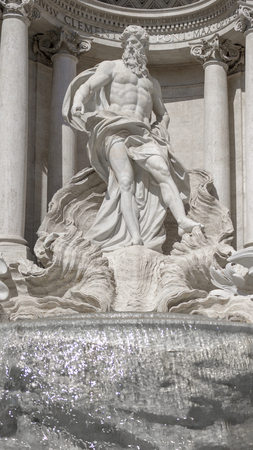Trevi Fountain, detail, statue of the God Ocean. Rome Italy Archivio Fotografico