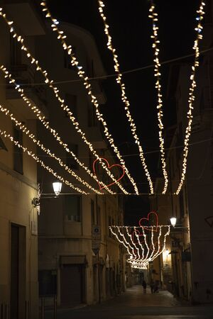 Terni, Italy. February 2020. Valentine's day. The streets of the city decorated for the celebrations of the patron saint.