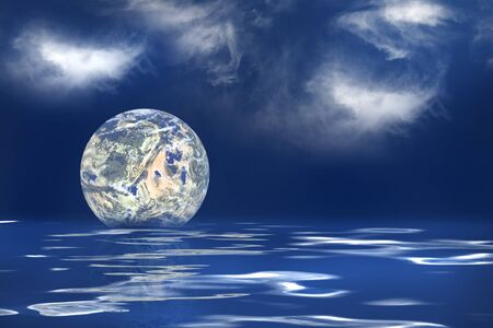 geosphere: The earth floating in an ocean to symbolize the melting of the polar ice caps Stock Photo