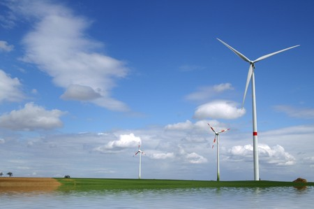 Wind-generator next to flooded field photo