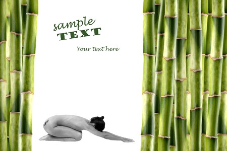 Nude woman surrounded by bamboo shoots and water with reflexion Stock Photo - 4102488