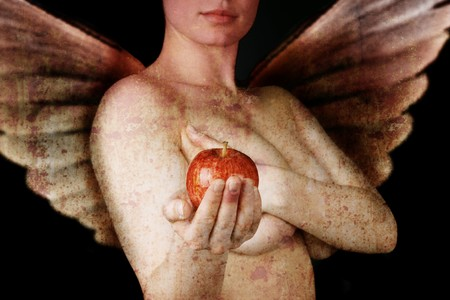 winged woman hiding her breasts and holding out an apple - photo looking like ancient painting