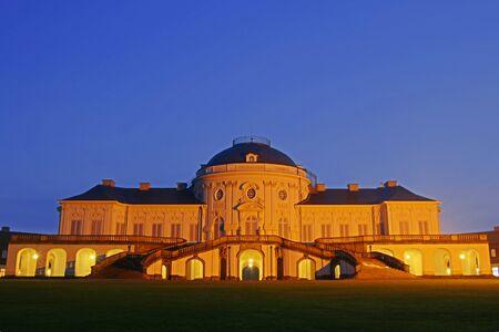 Illuminated Castle Solitude, Stuttgart, Germany Stock Photo