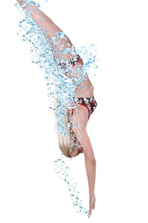 plunging woman - focus on some of the water-drops