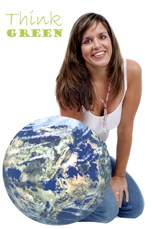 geosphere: Smiling Woman sitting next to a Globe - concept to make people aware